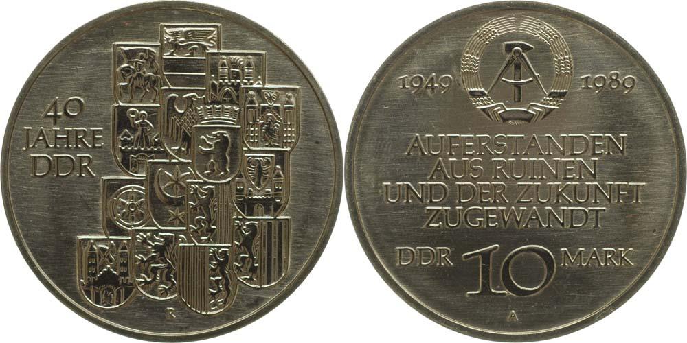 Lieferumfang:DDR : 10 Mark 40 Jahre DDR  1989 Stgl.