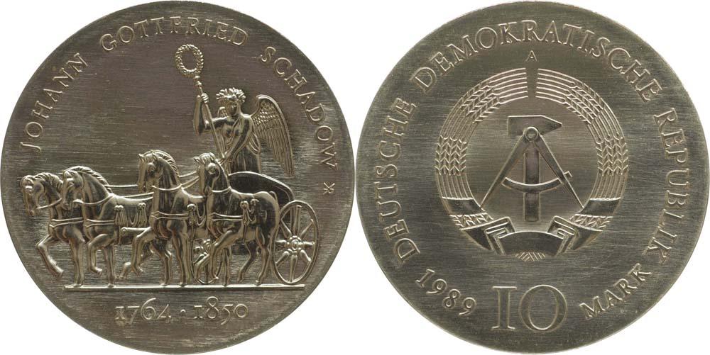 Lieferumfang:DDR : 10 Mark Johann Gottfried Schadow  1989 Stgl.