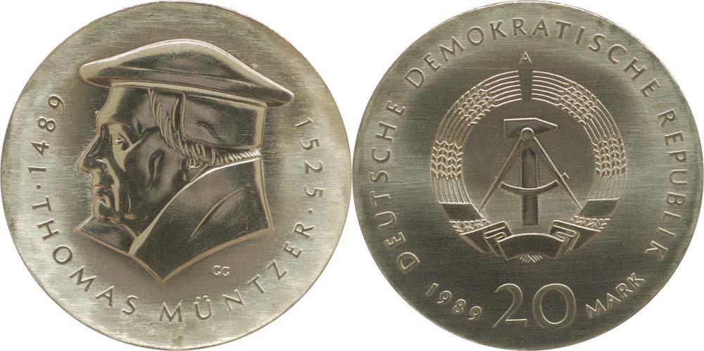 Übersicht:DDR : 20 Mark Thomas Müntzer  1989 Stgl.