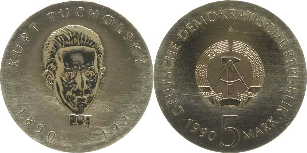 Lieferumfang:DDR : 5 Mark Kurt Tucholsky  1990 Stgl.