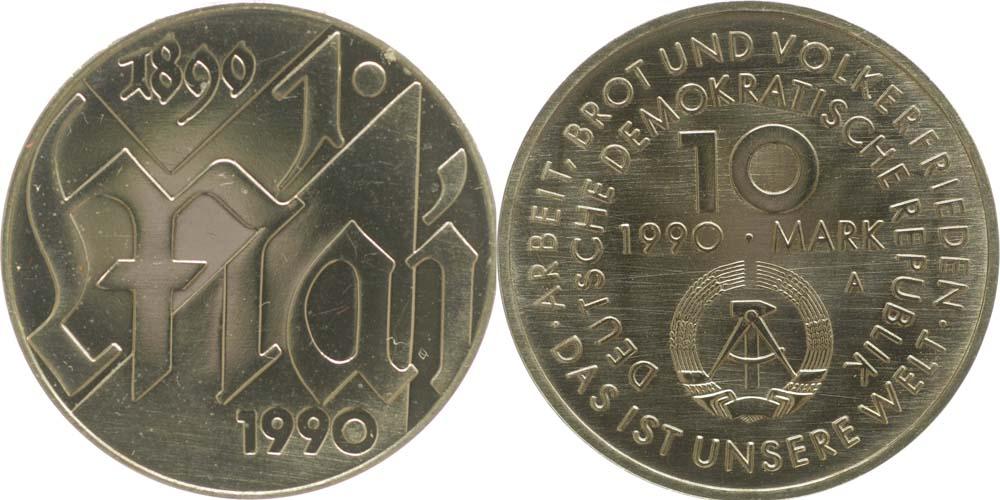 Lieferumfang:DDR : 10 Mark 1. Mai  1990 Stgl.