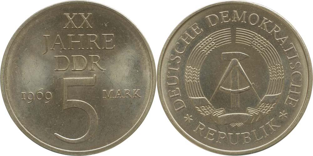 Lieferumfang:DDR : 5 Mark 20 Jahre DDR (Legierungsprobe)  1969 vz/Stgl.