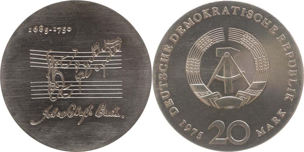 Lieferumfang:DDR : 20 Mark Johann Sebastian Bach (Notenzitat vertieft ausgeprägt)  1975 Stgl.
