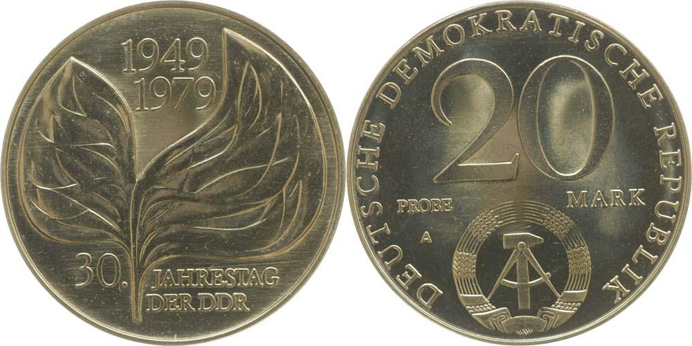 Lieferumfang:DDR : 20 Mark 30 Jahre DDR (Motivprobe Blatt)  1979 Stgl.