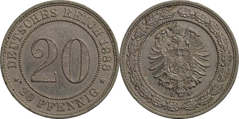 Deutschland : 20 Pfennig   1888 ss.