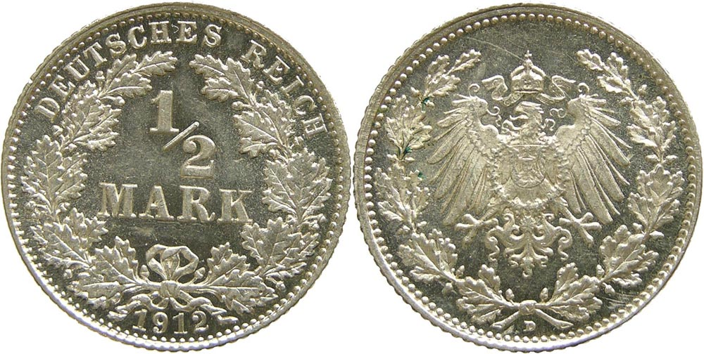 Lieferumfang:Deutschland : 1/2 Mark   1912 vz/Stgl.