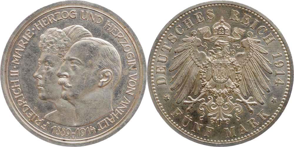 Deutschland : 5 Mark Friedrich II. u. Marie  1914 vz/Stgl.