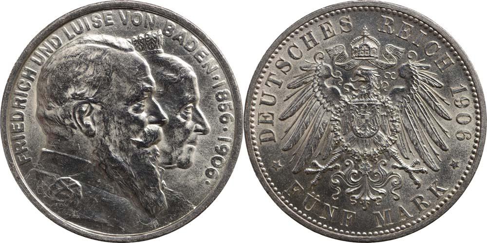 Lieferumfang:Deutschland : 5 Mark Friedrich u. Luise  1906 Stgl.