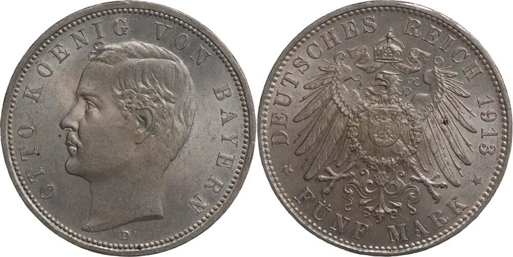 Übersicht:Deutschland : 5 Mark Otto  1913 Stgl.