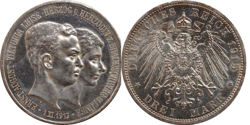 Lieferumfang:Deutschland : 3 Mark Ernst August und Viktoria  1915 vz/Stgl.