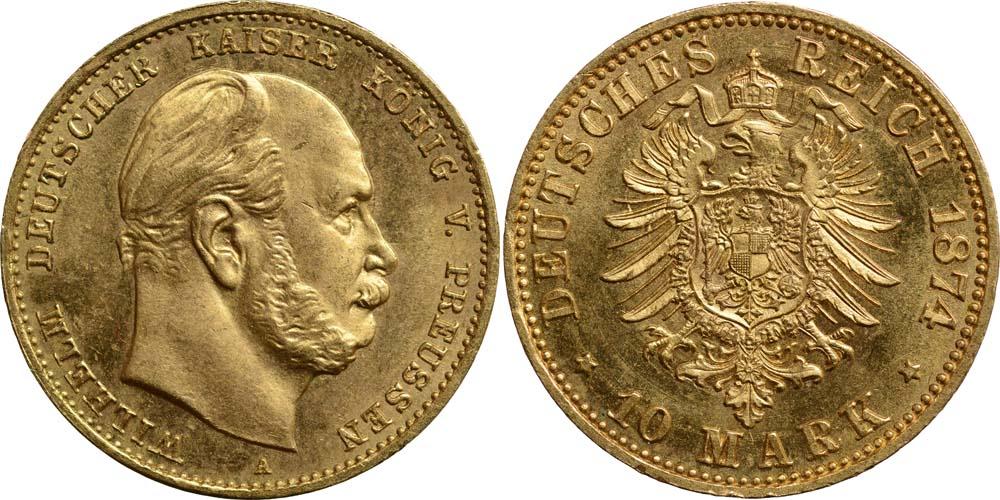 Übersicht:Deutschland : 10 Mark Wilhelm I. winz. Kratzer 1874 f.Stgl.