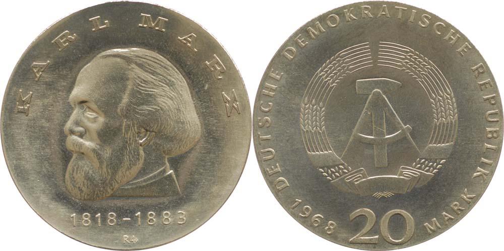 Übersicht:DDR : 20 Mark Marx - Super Preis ! - 1968 Stgl.