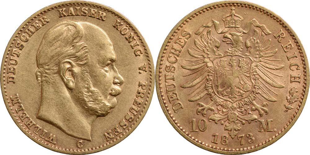 Lieferumfang:Deutschland : 10 Mark Wilhelm I.  1873 ss/vz.