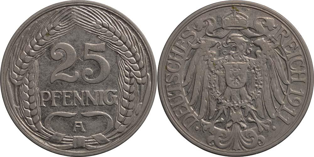 Übersicht:Deutschland : 25 Pfennig   1911 vz.