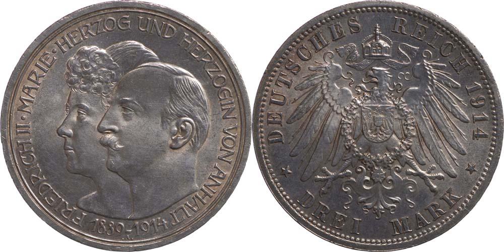 Übersicht:Deutschland : 3 Mark Friedrich II. u. Marie  1914 Stgl.
