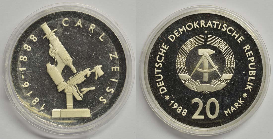 Lieferumfang:DDR : 20 Mark Carl Zeiss  1988 PP