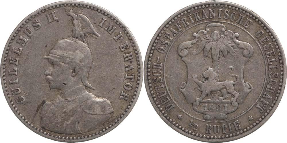Übersicht:Deutschland : 1/2 Rupie Wilhelm II. in Uniform  1901 ss.