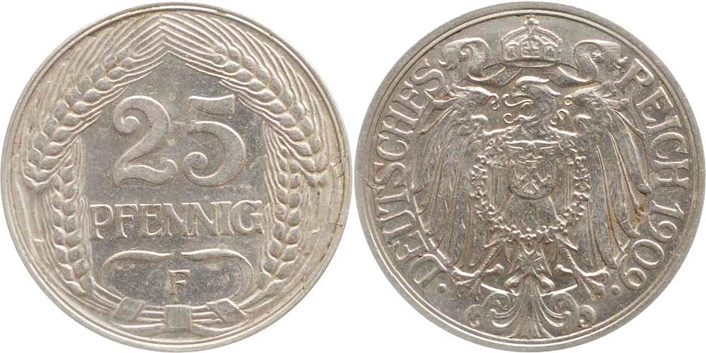 Übersicht:Deutschland : 25 Pfennig   1909 vz.