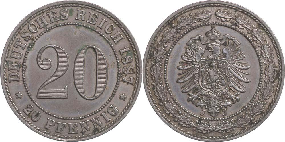 Übersicht:Deutschland : 20 Pfennig  patina 1887 vz/Stgl.