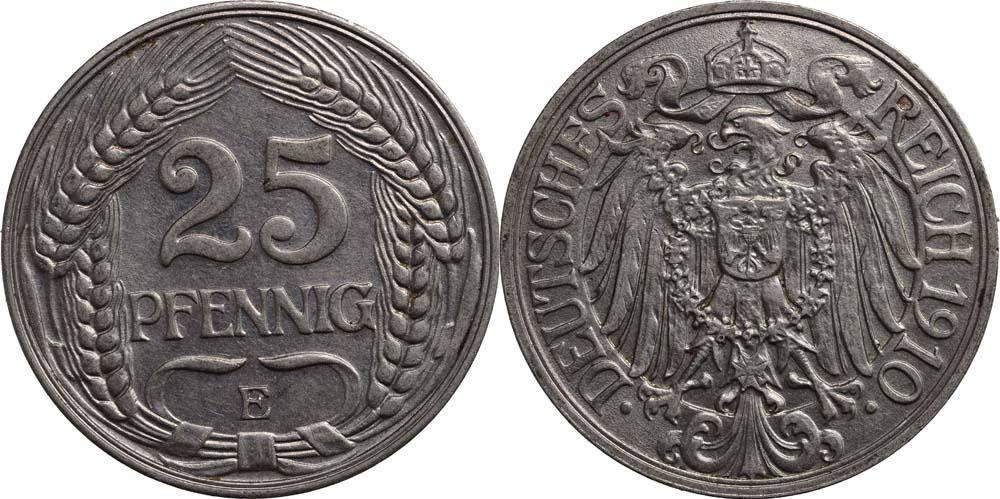 Übersicht:Deutschland : 25 Pfennig   1910 vz.