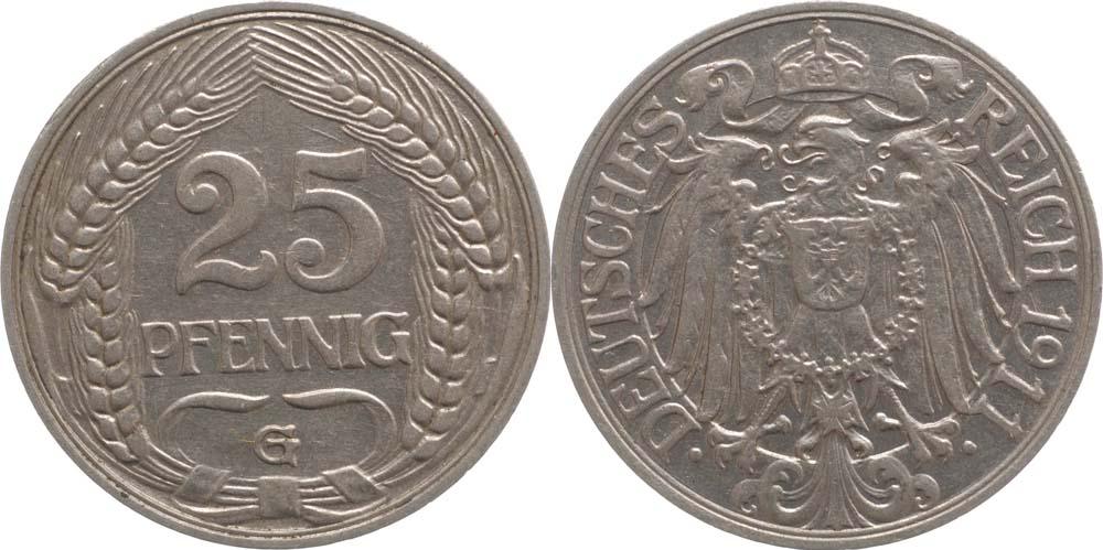 Deutschland : 25 Pfennig   1911 vz.