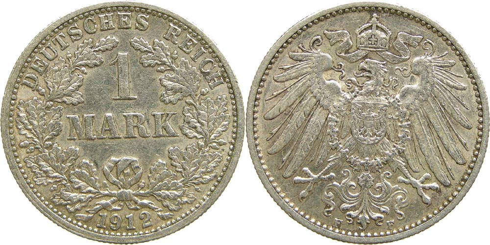 Lieferumfang:Deutschland : 1 Mark   1912 ss/vz.