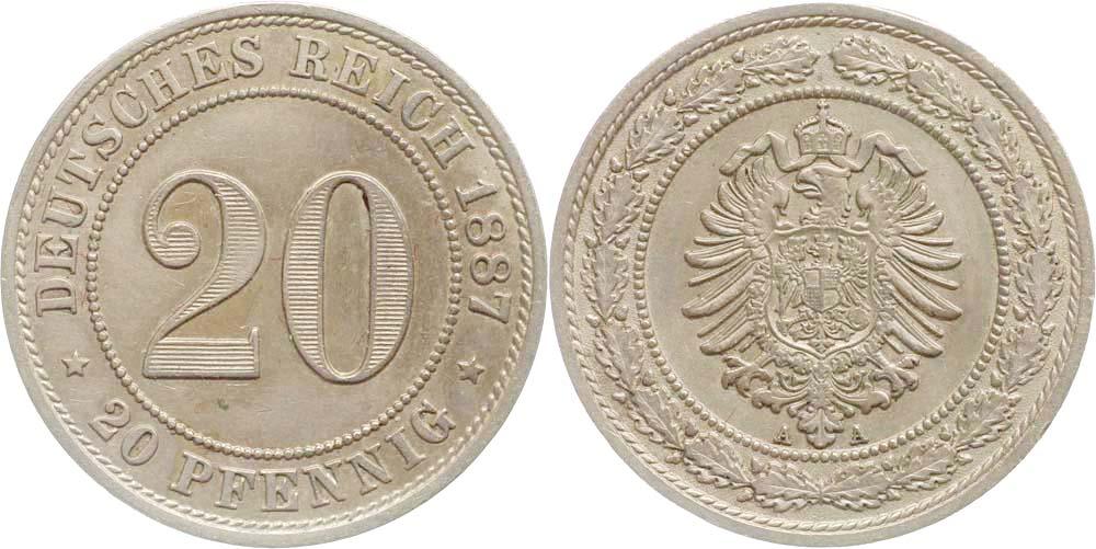 Übersicht:Deutschland : 20 Pfennig   1887 vz.