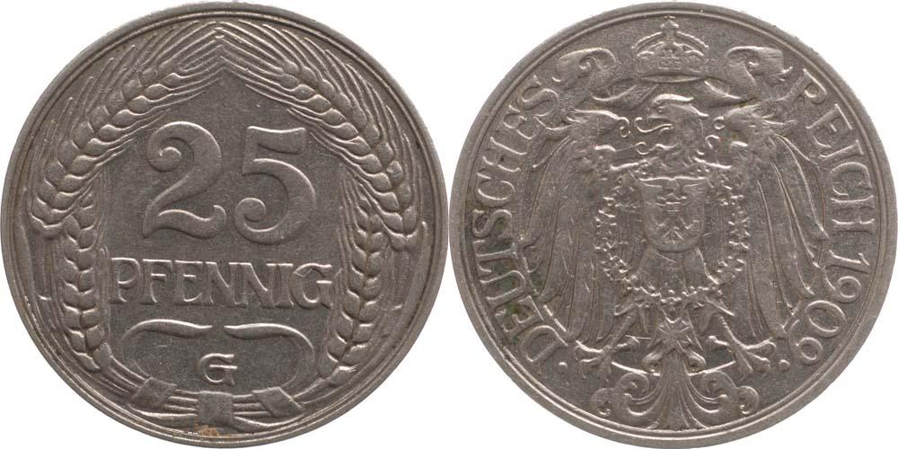 Deutschland : 25 Pfennig   1909 vz.