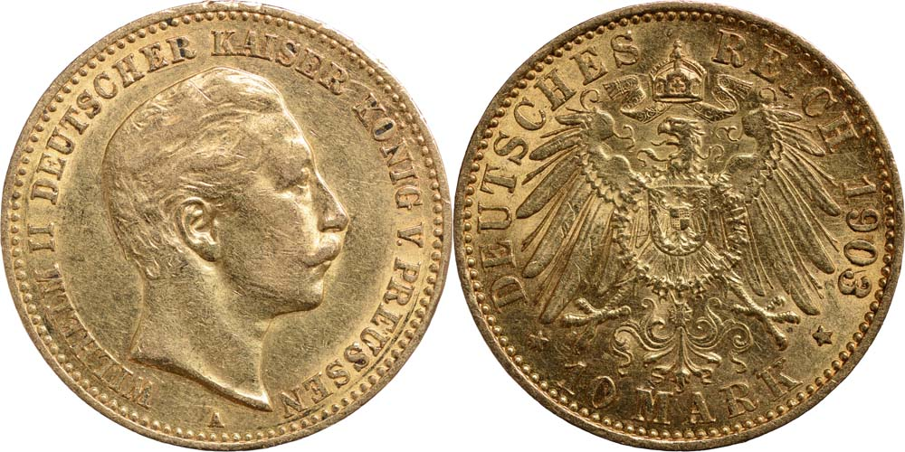 Lieferumfang:Deutschland : 10 Mark Wilhelm II.  1903 ss/vz.