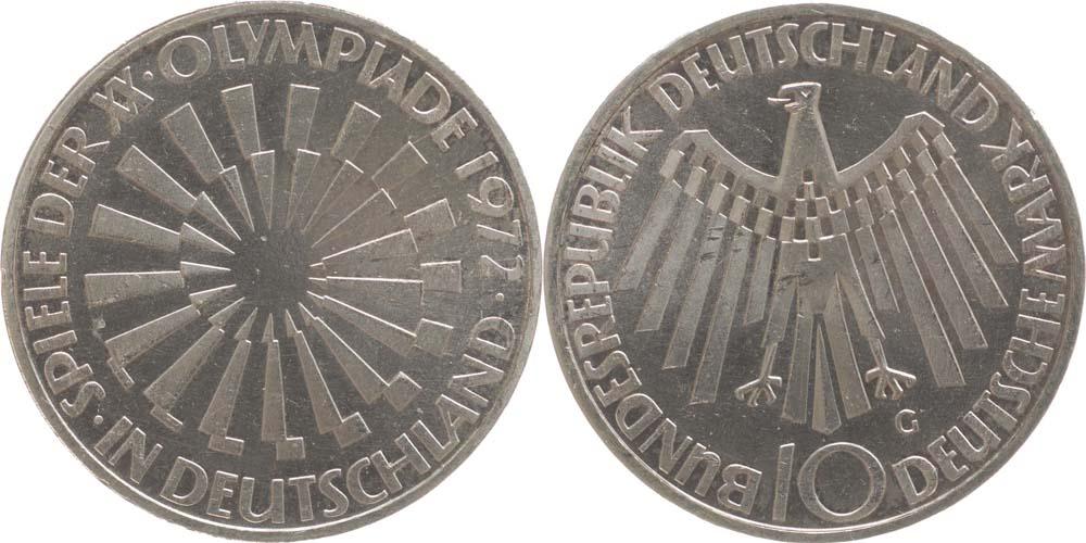 Übersicht:Deutschland : 10 DM Strahlenspirale Deutschland  1972 vz/Stgl.