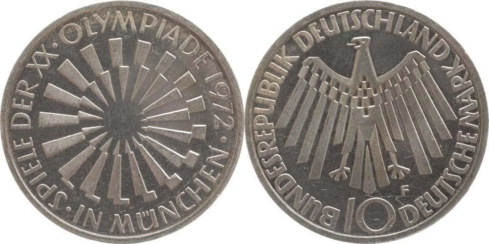 Übersicht:Deutschland : 10 DM Strahlenspirale München  1972 vz/Stgl.