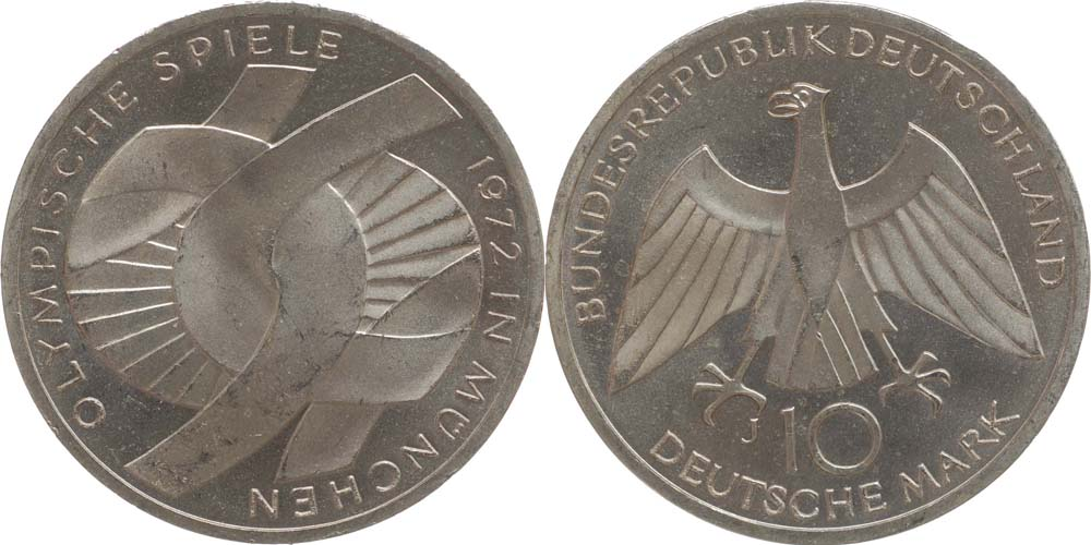 Übersicht:Deutschland : 10 DM Verbindungssymbole  1972 vz/Stgl.