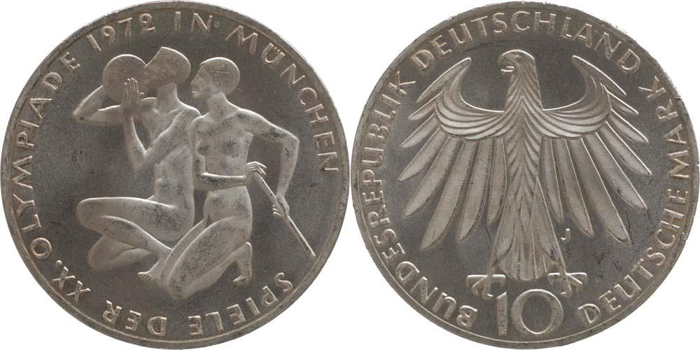 Übersicht:Deutschland : 10 DM Sportler und Sportlerin  1972 vz/Stgl.