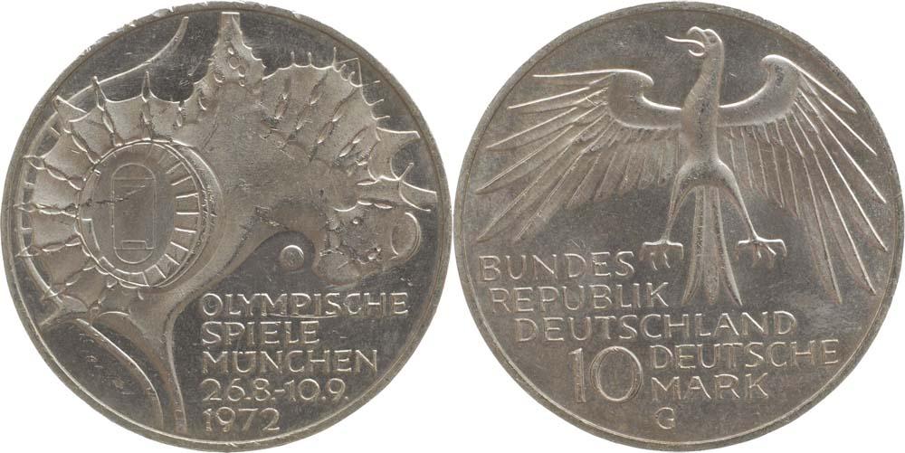 Übersicht:Deutschland : 10 DM Stadion  1972 vz/Stgl.