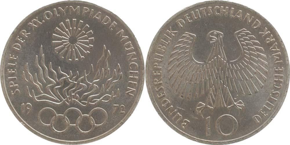 Lieferumfang:Deutschland : 10 DM Flamme  1972 vz/Stgl.