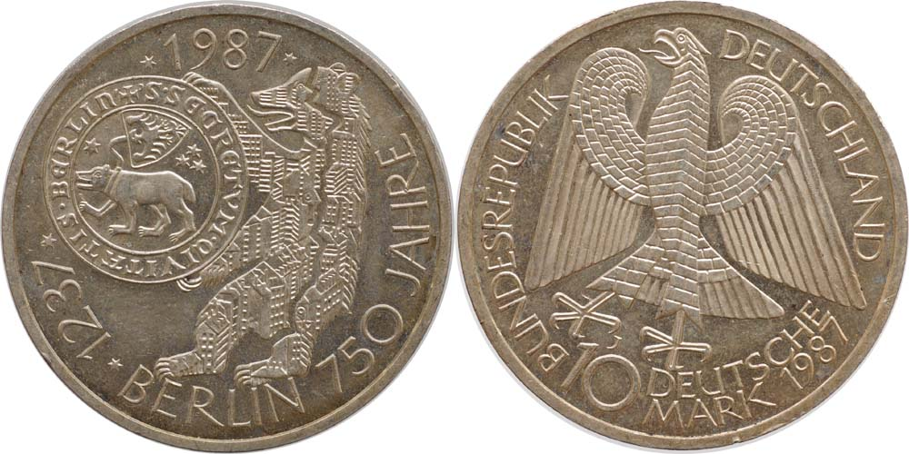 Deutschland : 10 DM 750 Jahre Berlin  1987 vz/Stgl.
