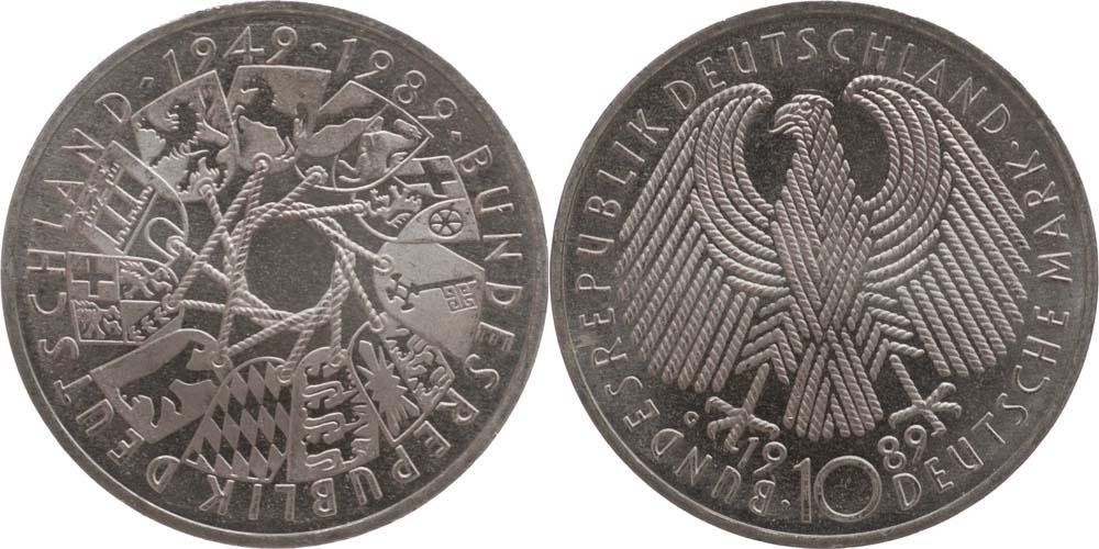 Lieferumfang:Deutschland : 10 DM 40 Jahre Bundesrepublik  1989 vz/Stgl.