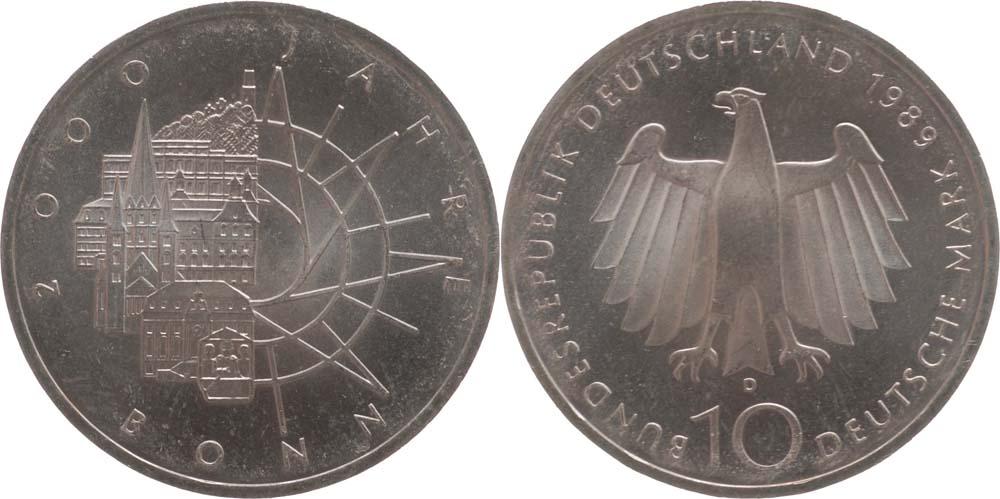 Übersicht:Deutschland : 10 DM 2000 Jahre Bonn  1989 vz/Stgl.