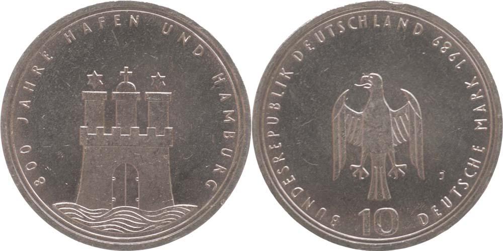 Lieferumfang:Deutschland : 10 DM 800 Jahre Hamburger Hafen  1989 vz/Stgl.