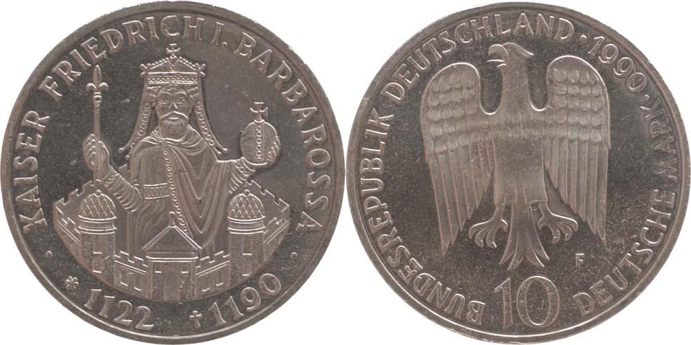 Lieferumfang:Deutschland : 10 DM Barbarossa  1990 vz/Stgl.