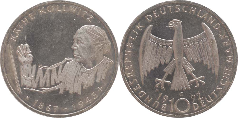 Lieferumfang:Deutschland : 10 DM Kollwitz  1992 vz/Stgl.