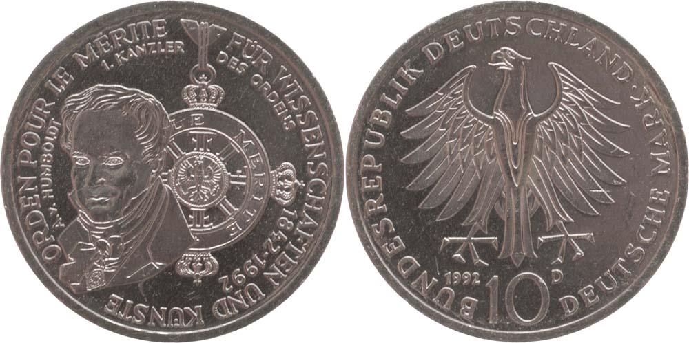 Lieferumfang:Deutschland : 10 DM Pour le Mérite  1992 vz/Stgl.
