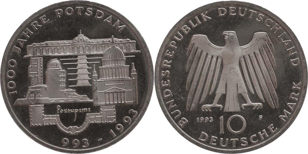 Lieferumfang:Deutschland : 10 DM 1000 J. Potsdam  1993 vz/Stgl.
