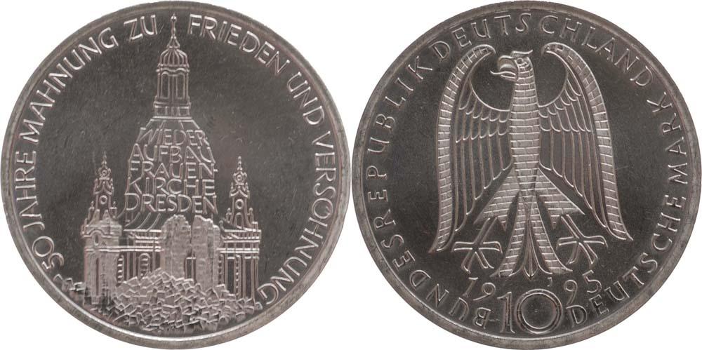 Übersicht:Deutschland : 10 DM Frauenkirche  1995 vz/Stgl.
