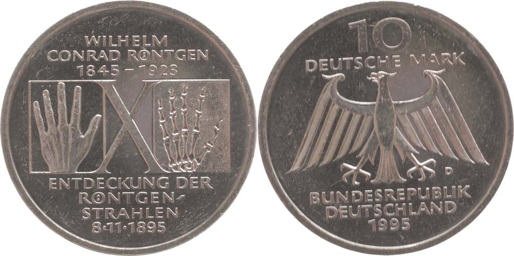 Übersicht:Deutschland : 10 DM Röntgen  1995 vz/Stgl.