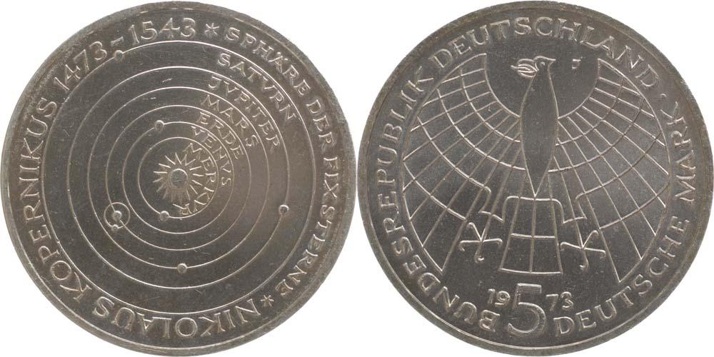 Übersicht:Deutschland : 5 DM Kopernikus  1973 vz/Stgl.