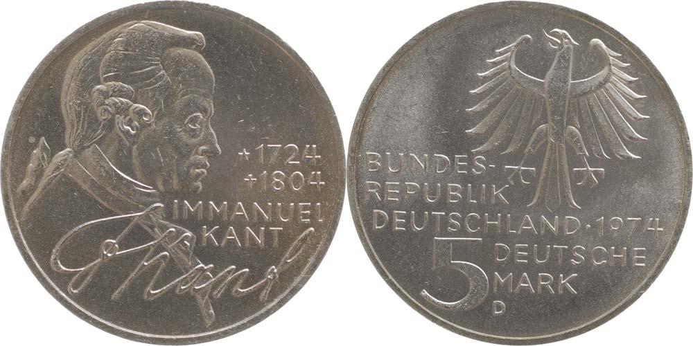 Übersicht:Deutschland : 5 DM Kant  1974 vz/Stgl.