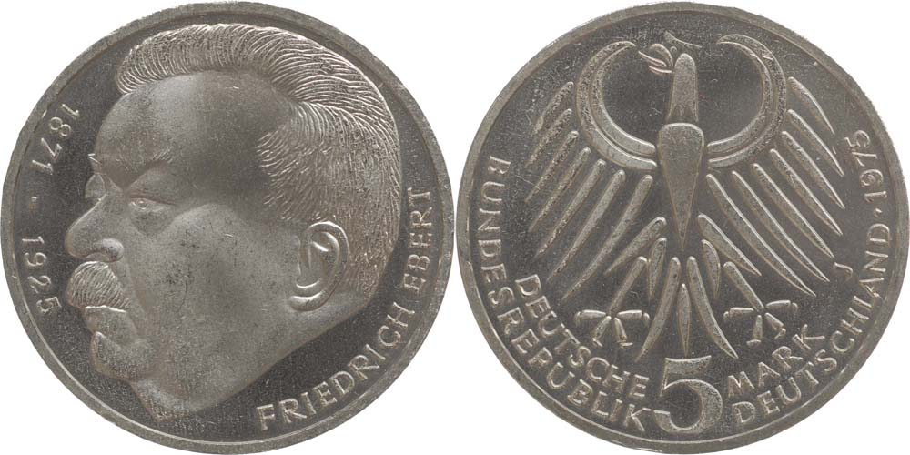Deutschland : 5 DM Ebert  1975 vz/Stgl.