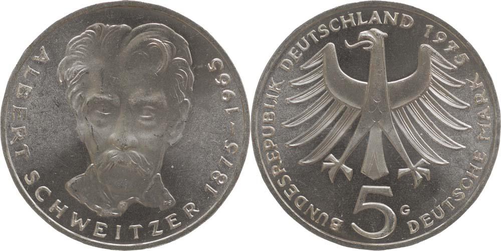 Übersicht:Deutschland : 5 DM Schweitzer  1975 vz/Stgl.