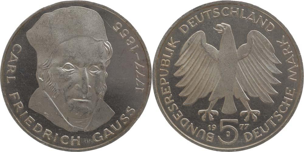 Lieferumfang:Deutschland : 5 DM Gauss  1977 vz/Stgl.